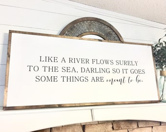 Elvis Like a River Flows 20X48 / Over the bed sign, Love / Farmhouse Sign / Rustic / Home Decor / Hand painted / Wood sign / Farmhouse Style