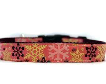 1 Inch Wide Dog Collar with Adjustable Buckle or Martingale in Snowflakes Pink