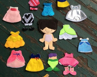 Claire Felt Doll , Girl Felt Doll , Non Paper Doll , Flat Felt Doll , Doll and Outfit , Felt Doll Play Set , Small , Medium , or Large Sizes
