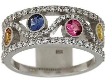 Sapphire Ring Pink Sapphire Blue Sapphire Yellow Sapphire Diamond Ring In 14K White Gold