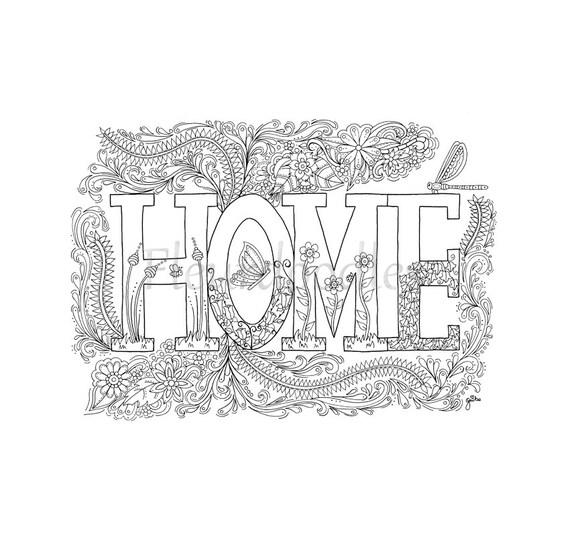 Malseite zum Ausdrucken Sweet Home handgezeichnetes