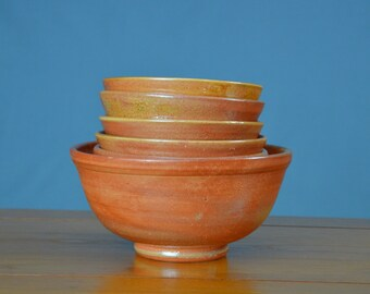 Orange Ceramic Bowl Set, Hand Thrown Porcelain Pottery, Soup, Cereal, Salad, Serving, Mixing, Unique Gift, Mom, Decor | Caldwell Pottery