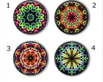 Kaleidoscope magnets or pins, mandala magnets pins buttons, refrigerator magnets, office magnets, fridge magnets