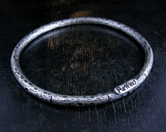 Made to order 4mm oval heavy rustic bangle bracelet with dots stripes and hammered finish. Deep patina, strong and simple.