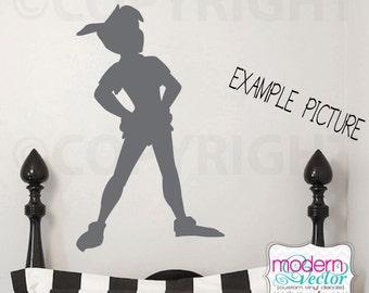 Peter Pan Shadow Silhouette Vinyl Wall Decal Mural Nursery Children's Bedroom Disney Theme Vinyl Pirate Vinyl Decor