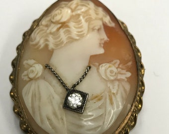 Vintage Cameo with Rhinestone necklace