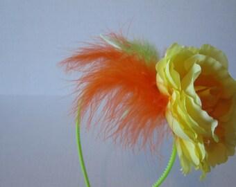 Yellow & Orange Party Headband Fascinator, Party fascinator, Cosplay fascinator, Orange headband, Yellow Headband, Ash Tree Meadow Designs
