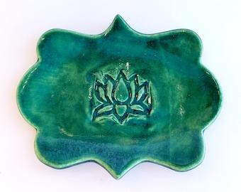 Green Lotus Flower Jewelry Dish