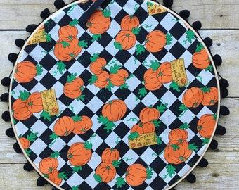 Pumpkin embroidery hoop wall hanging