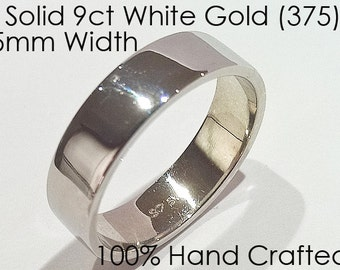 9ct 375 Solid White Gold Ring Wedding Engagement Friendship Friend Flat Band NEW 5mm