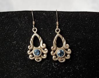 Sterling Blue Crystal Earrings, Sterling Silver Blue Crystal, Sterling Earrings, Earrings