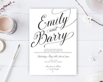 Simple wedding invitations / Printed wedding invitations / Calligraphy wedding cards / Elegant wedding invites