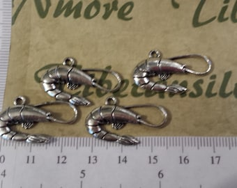 14 pcs a pack 27x15mm One side Shrimps Charm Antique Silver Lead Free Pewter.