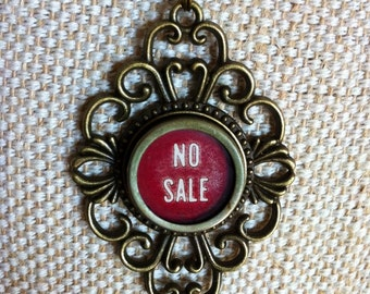 Cash register key necklace | NO SALE key | vintage red coloured typewriter key | bronze tone pendant / upcycled jewelry