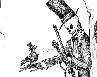 ink drawing,  Skeleton drawing, drawing of skeleton, fine art sketch, ink Illustration, giclee print, fine art print, gothic drawing,