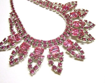 Vintage Pink Rhinestone Necklace Choker Bright Pink Vintage Necklace Wedding Bridal Jewelry Gift for Her Under 50 Jewelry Gift Idea