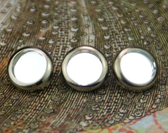 10 Crystal Mirror Hair Snaps - Round Silver Rim Edition -- Made with Swarovski Crystal Mirror Element Rhinestones
