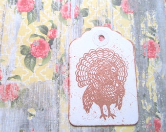 Antiqued Thanksgiving Turkey Tags, Thanksgiving Gift Tags, Turkey Tags,Thanksgiving Decorations, Antiqued Thanksgiving Tags Vintage Turkey