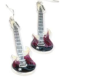 Sale| Electric Guitar Rocker Earrings - Purple Guitar Earrings - Electric Guitar Dangle Earrings - Musical Instrument Earrings - Guitar Jewe