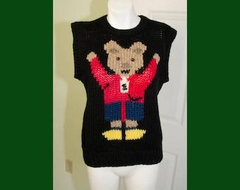 Vintage 1990's Hand Knit Teddy Bear Sweater Vest