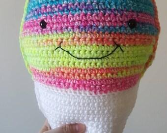 Sale-Handmade crochet stuffed snowcone - novelty gift - pillow  - ragdoll - stuffie  - pillow pal