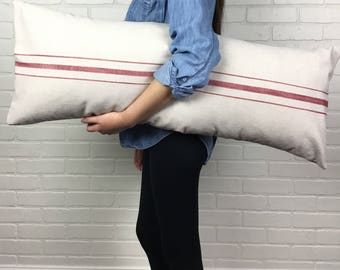 French Grain Sack Style Body and Lumbar Pillow Covers