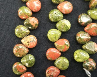 33pcs/lot - Natural Pink Sage Green Unakite Puffy Flat teardrop Briolette Beads 10x11mm  -Top drilled