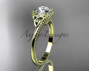 "Celtic engagement ring, 14kt yellow gold celtic trinity knot  engagement ring with a ""Forever One"" Moissanite center stone CT7322"