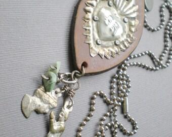 Milagro Sacred Heart Leather Pendant . Children Blessing Necklace. Leather Pendant. Ex Voto Prayers. Mexico Peru.