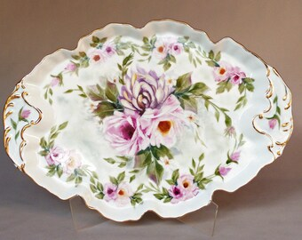 Hand Painted Pink Roses and Purple Mum Tray