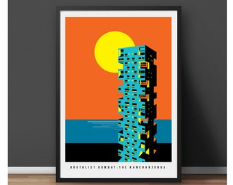 Brutalist Bombay Poster - The Kanchanjunga Towers Illustrated print, Matte and Giclee Art Prints in A3 or A2 sizes - Brutalist Architecture