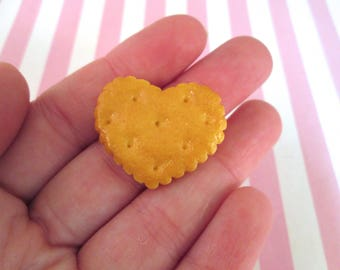 Miniature Heart Cookie Cabochons, Flatback Decoden Kawaii Sweets, #228b