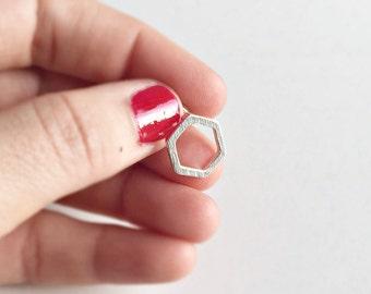 Hexagon Earrings Silver