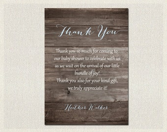 Baby Shower Thank You Card Boys / Girls Gender Neutral Rustic Wood Blue Shower | Boy Gender Neutral | Print Yourself Thank You DIY BS-5