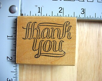 Azadi Earles Thank You Sentiment DESTASH Rubber Stamp, Used Rubberstamp