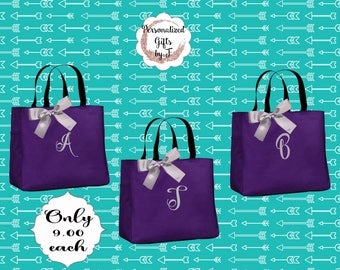 4 Personalized Tote Bag Bridesmaid Gifts (Set of 4) Monogrammed Tote, Bridesmaid Tote, Personalized Tote