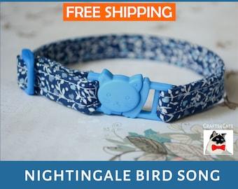 Kitten collar 'Nightingale bird song' - Adjustable, breakaway safety collar for kitten & cat