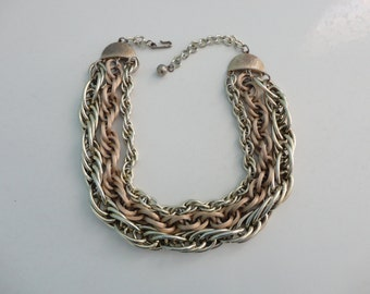 VINTAGE three strand chunky gold tone CHAIN NECKLACE
