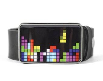 Tetris Belt Buckle, Geek Belt Buckle, Computer game, Video game, Retro belt buckle, gift for him, men's belt buckle