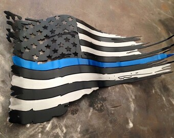 Free shipping! 2ft Blue Line Metal Tattered Flag