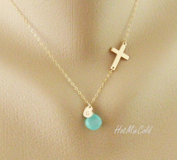 Personalized Sideways Cross Necklace / Initial Charm Necklace / Monogram Heart Necklace / Birthstone Jewelry / Child Mothers Necklace