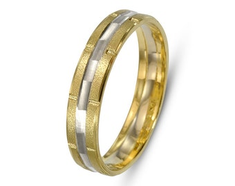14k Gold Two Tone Wedding Band with Florentine and Brushed Finishes