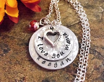Personalized Jewelry, Mother's Day Jewelry, Hand Stamped Jewelry, I Love You Mama, 2 Discs