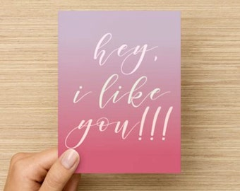 VALENTINE: hey, i like you!!! (Set of 4 cards)