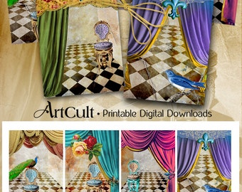 Printable download THEATRE Digital Collage Sheet Jewelry Holders 2.5x3.5 inch size Gift tags Vintage ephemera Paper scrapbooking artcult