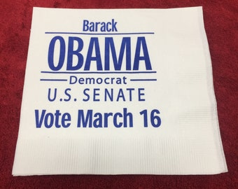 President Barack Obama : Senate Napkin - (March 16th, 2004)