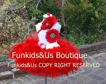 1st Birthday Girl Feather Outfit, Feather Tutu shirt and Headband -  Cake Smash Outfit, Feather Tutu, Feather Skirt