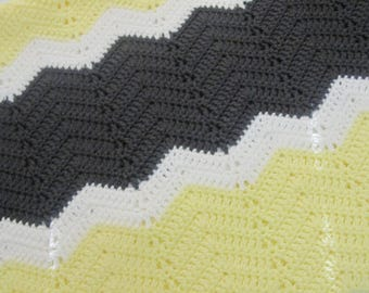 Baby Blanket, Chevron Baby Blanket, Crochet Baby Blanket~Yellow Gray and White~ Ready to Ship