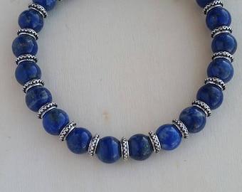 Lapis Lazuli Gemstone Bracelet, Silver Plated
