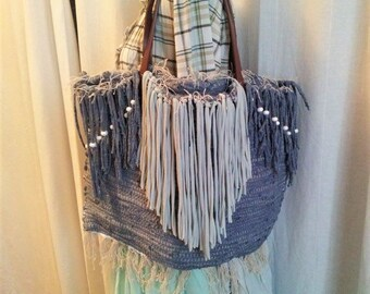 Tote bag oversize in fibers of Jersey recycled color jeans and green mint with fringes and pearls, bohemian and hippie style.